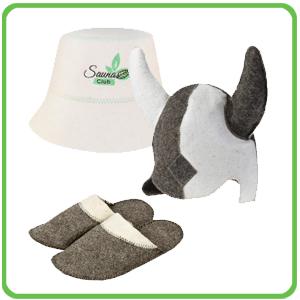 Klobouky, rukavice a podložky do sauny